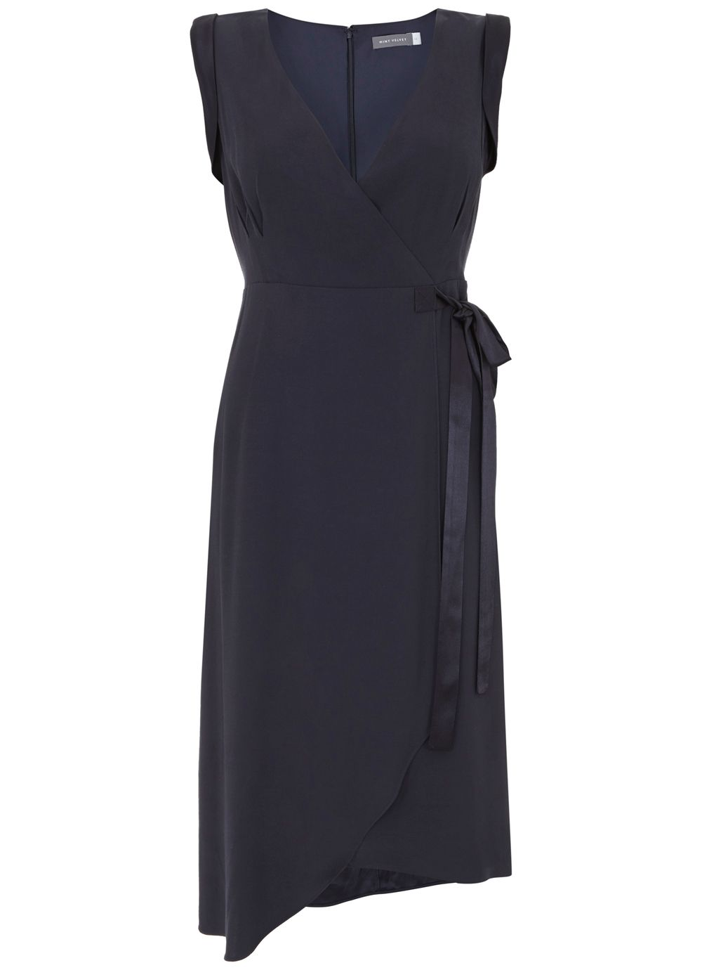 Mint Velvet Ink Tie Side Asymmetric Dress, Dark Blue