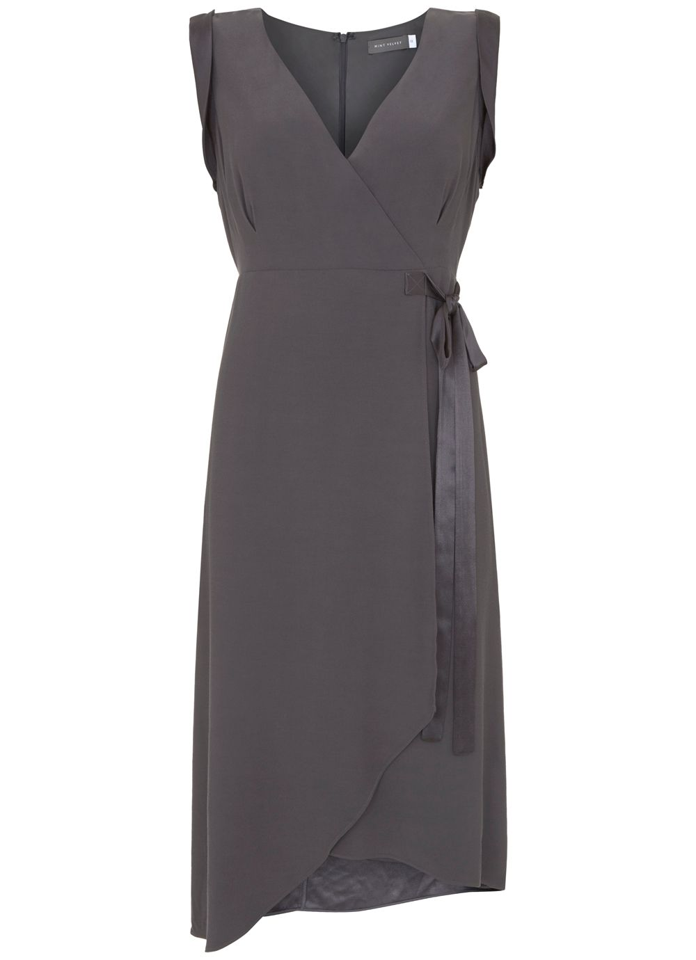 Mint Velvet Steel Tie Side Asymmetric Dress, Grey