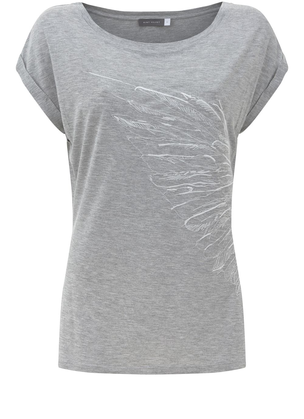 Mint Velvet Silver Grey Embroidered Tee, Light Grey
