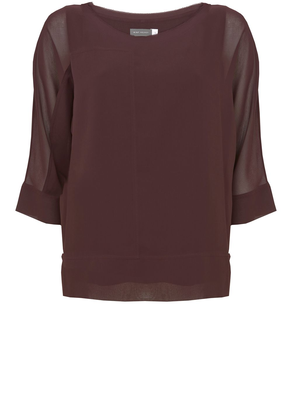 Mint Velvet Bordeaux Layered Batwing, Dark Red