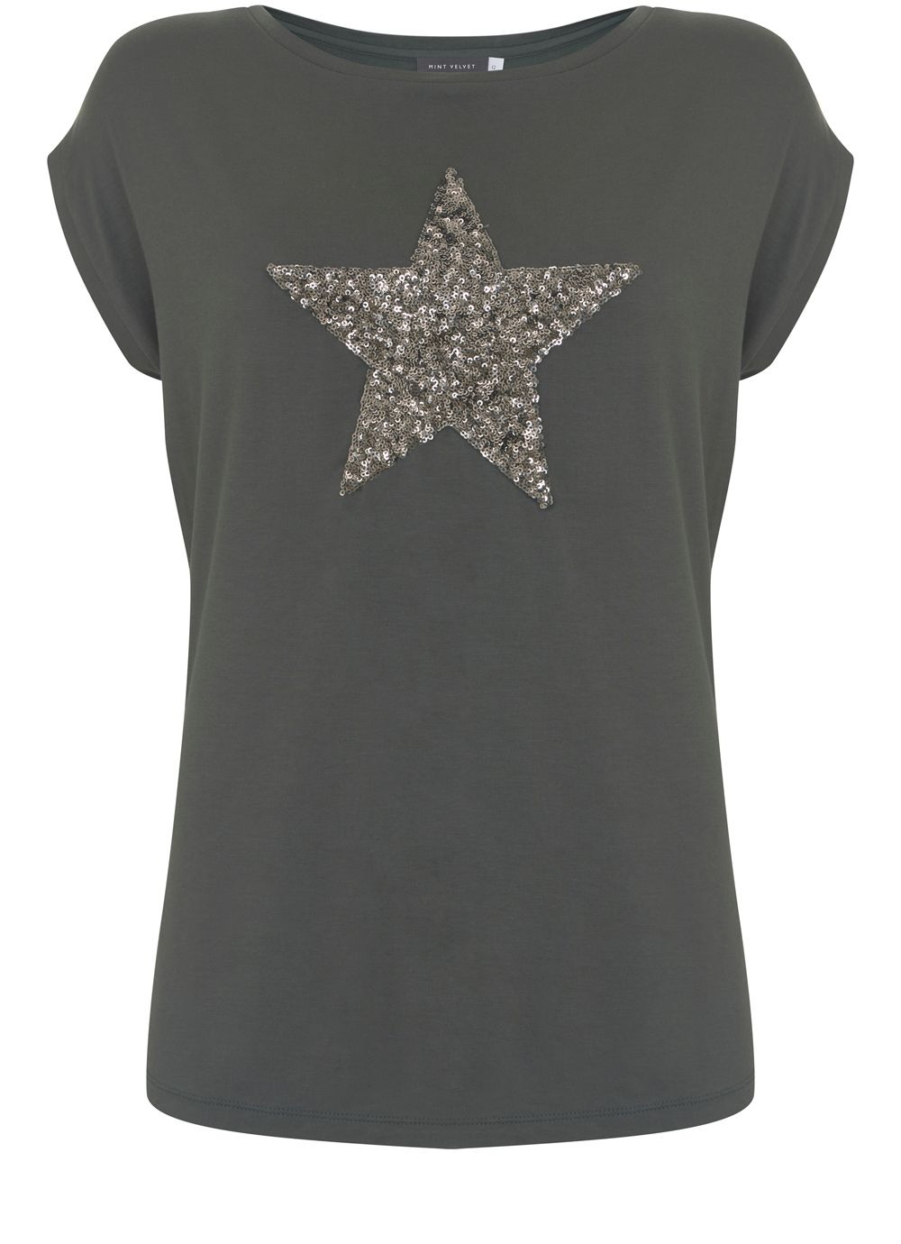 Mint Velvet Khaki Sequin Star Tee, Dark Green