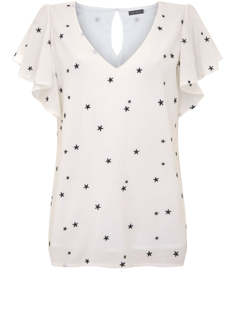 Mint Velvet Star Embroidered Top, White