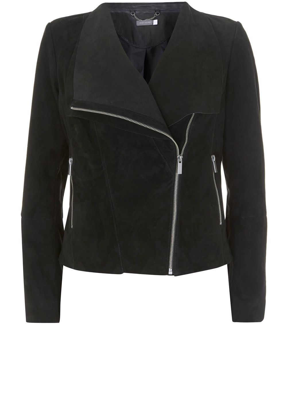 Mint Velvet Black Suede Double Layer Jacket, Black