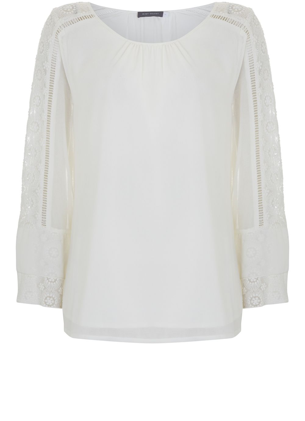 Mint Velvet Cream Lace Sleeve Blouse, Cream
