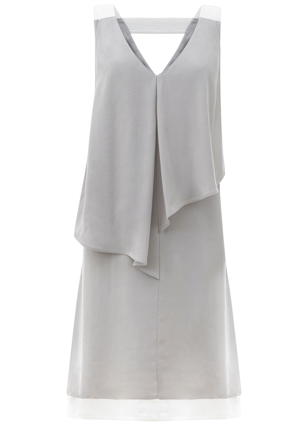 Mint Velvet Dove Asymmetric Layer Dress, Light Grey