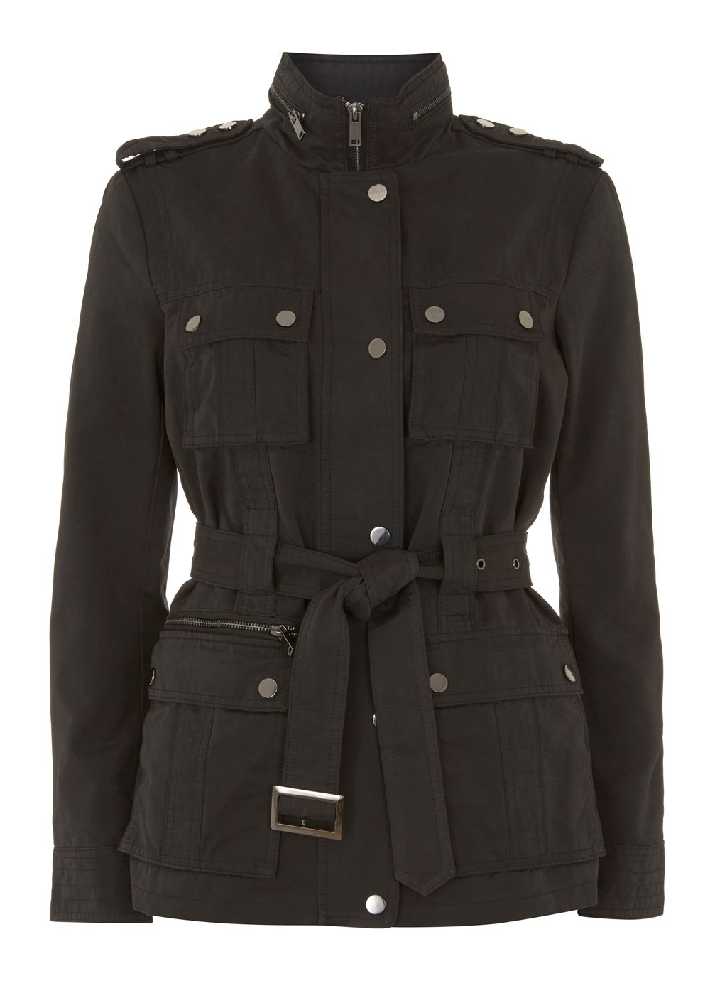 Mint Velvet Black Belted Jacket, Black