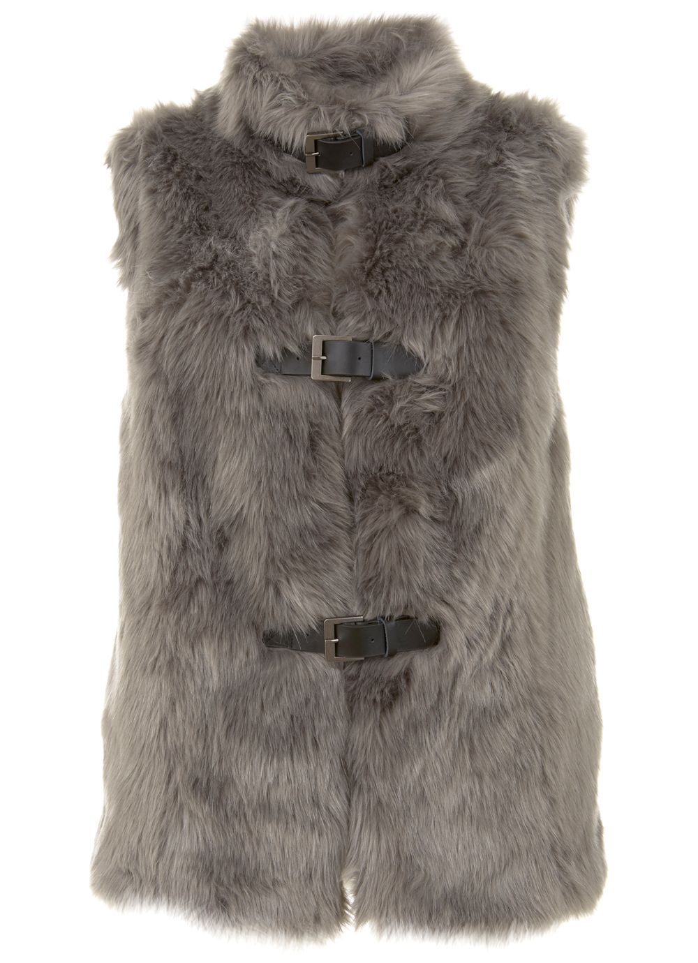 Mint Velvet Oatmeal Faux Fur Gilet, Neutral