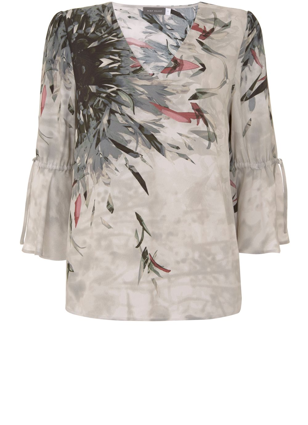 Mint Velvet Teresa Print Tie Sleeve Blouse, Multi-Coloured