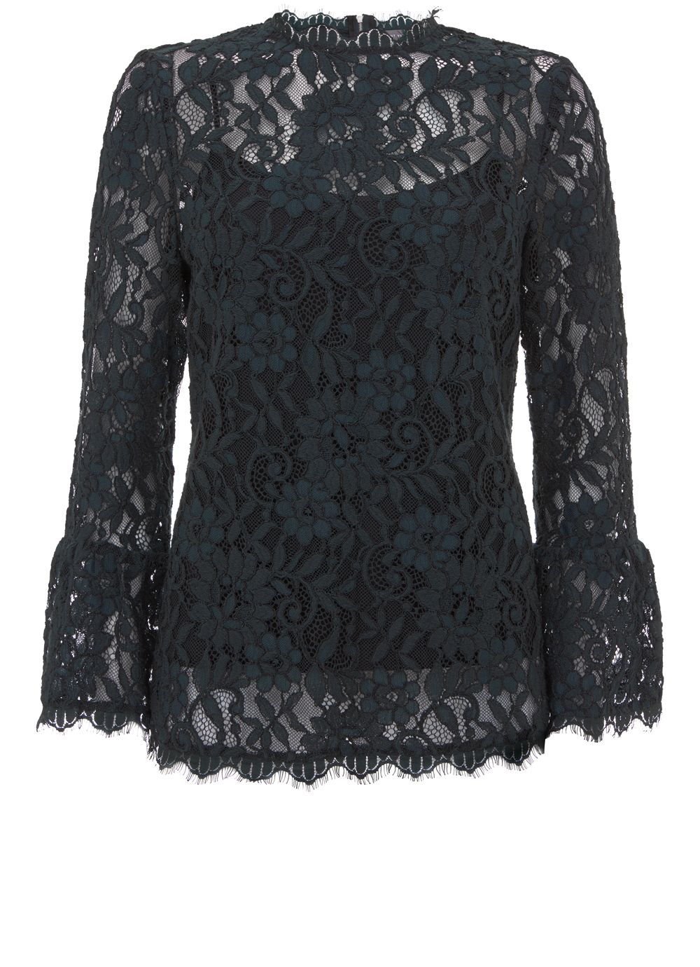 Mint Velvet Khaki Lace Flared Cuff Top, Dark Green