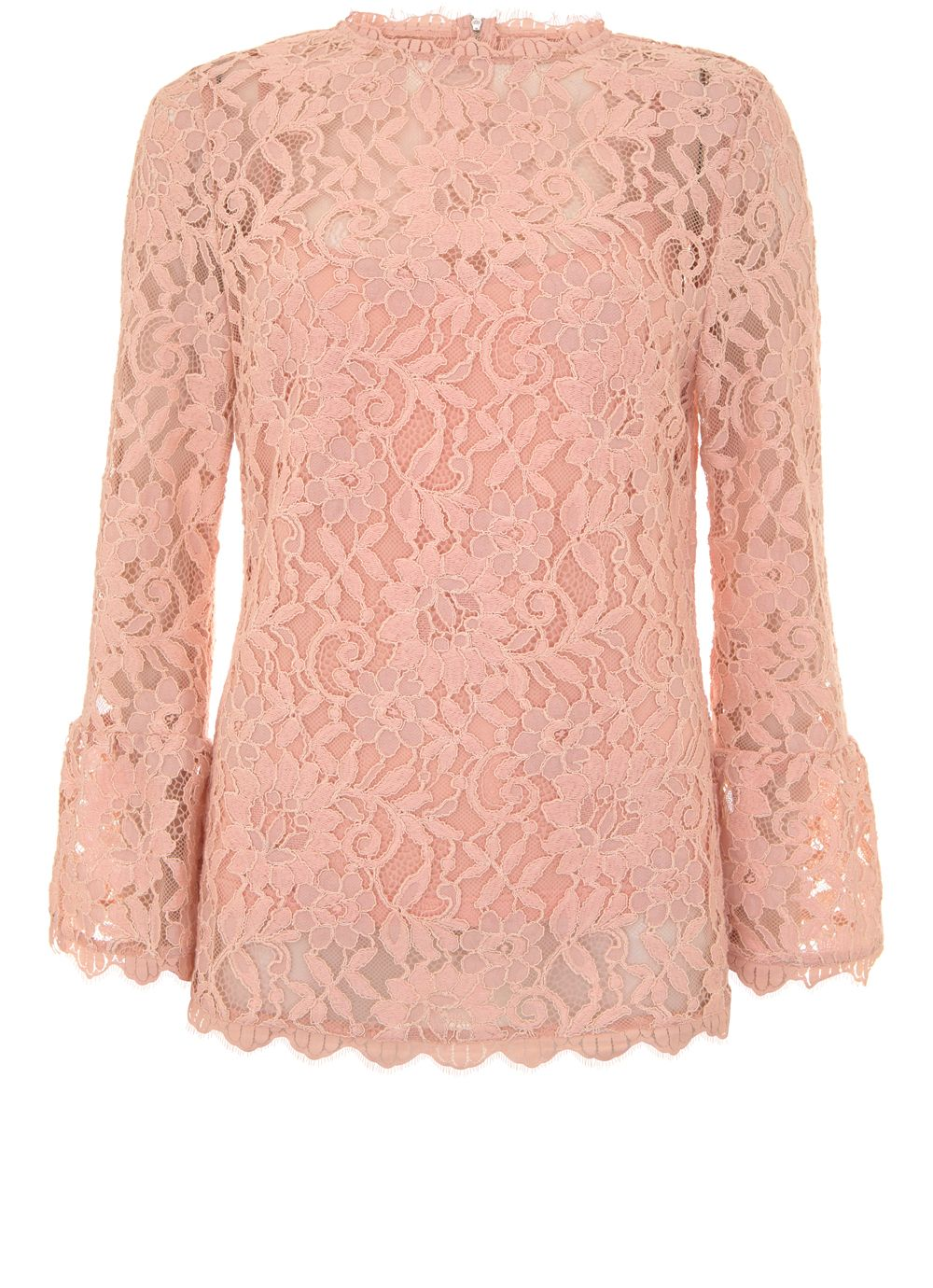 Mint Velvet Nude Lace Flared Cuff Top, Pastel Pink