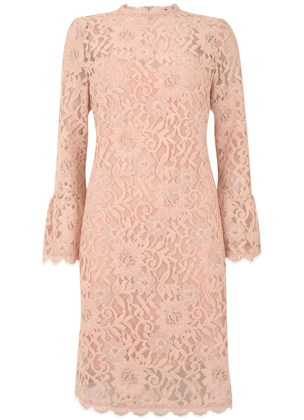 Mint Velvet Peach Lace Shift Dress, Pastel Pink