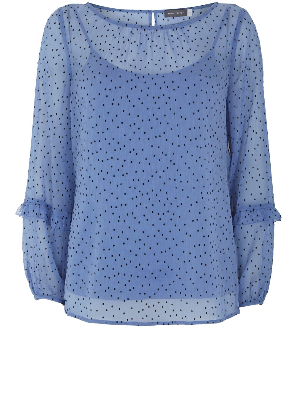 Mint Velvet Iris Flocked Spotty Ruffle Top, Light Blue