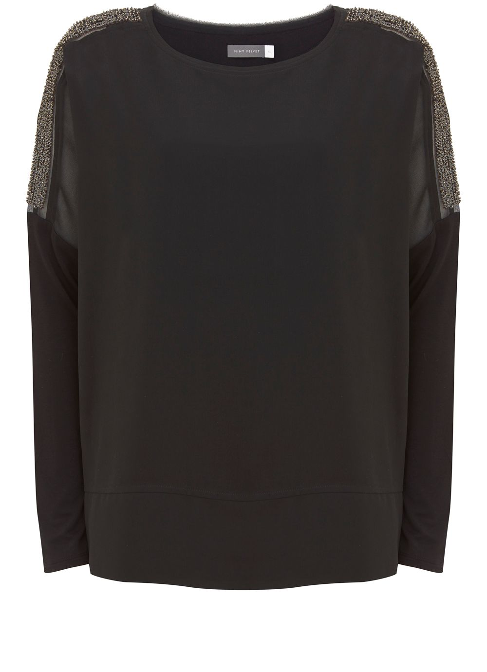 Mint Velvet Black Sequin Sleeve Batwing, Black
