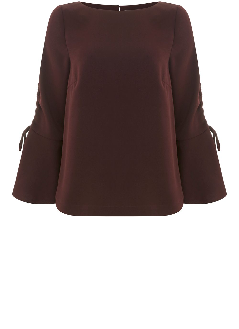 Mint Velvet Bordeaux Fluted Sleeve Blouse, Dark Red