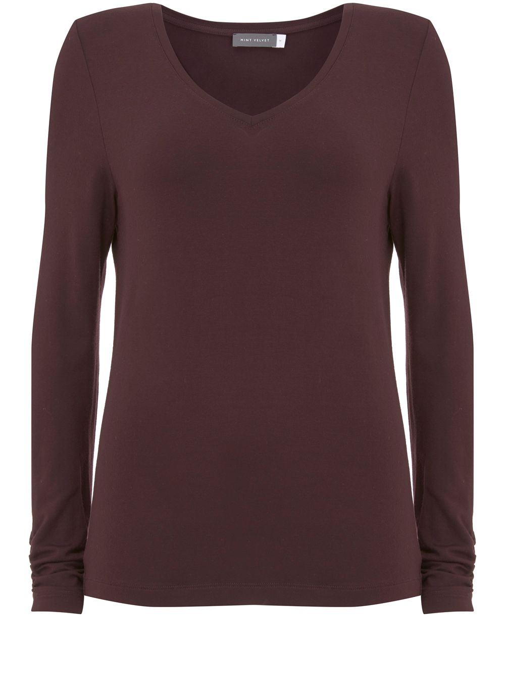 Mint Velvet Bordeaux V Neck Modal Tee, Dark Red