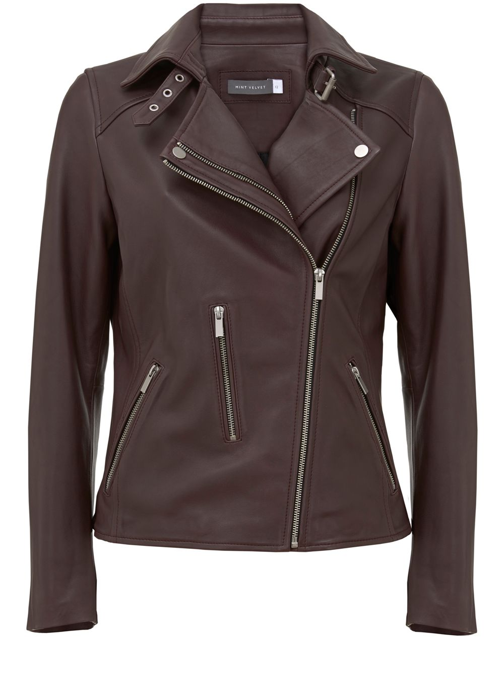 Mint Velvet Bordeaux Clean Leather Zip Biker Jacket, Dark Red