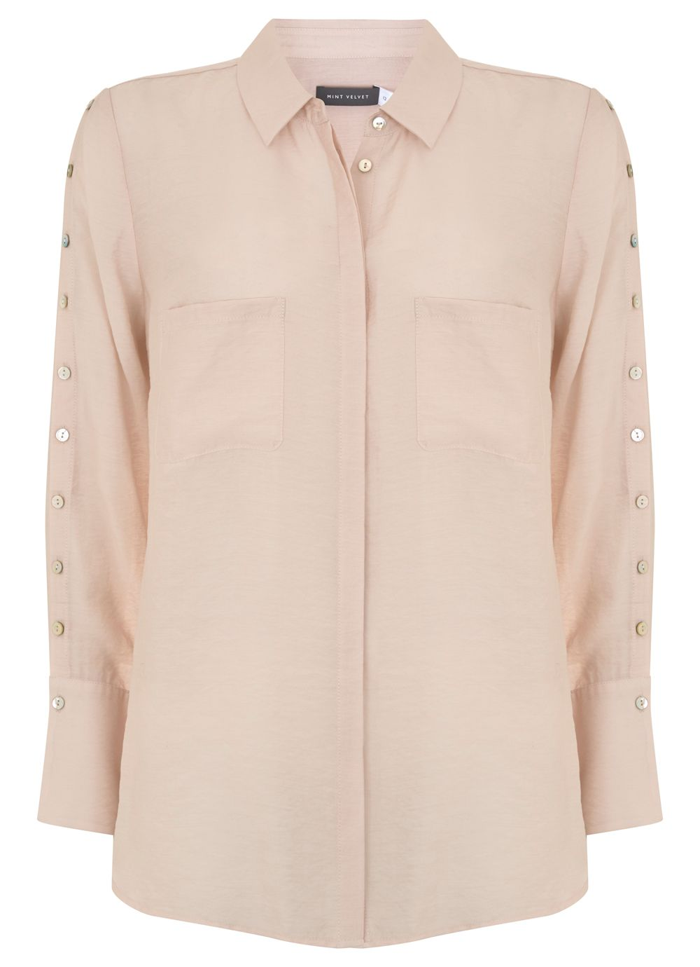 Mint Velvet Champagne Button Shirt, Neutral