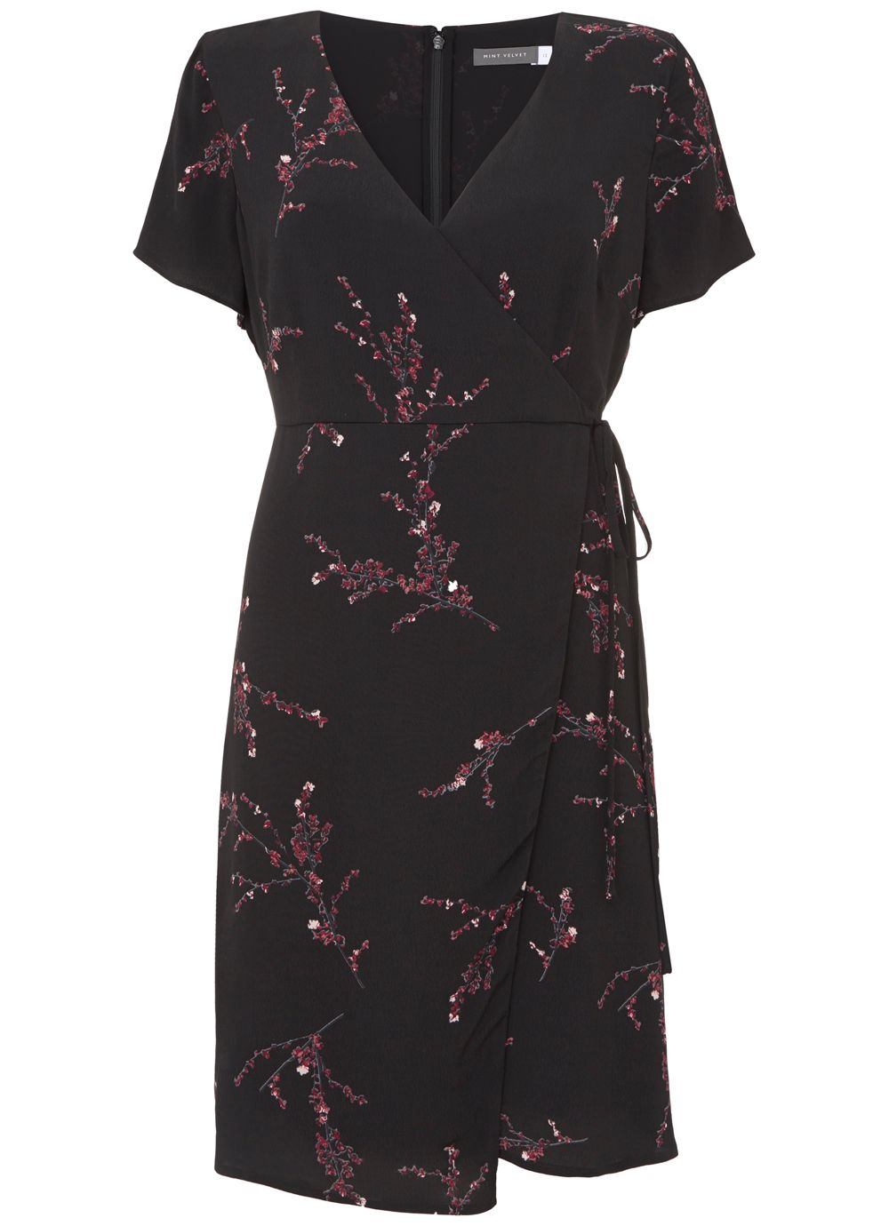 Mint Velvet Blossom Print Wrap Dress, Multi-Coloured
