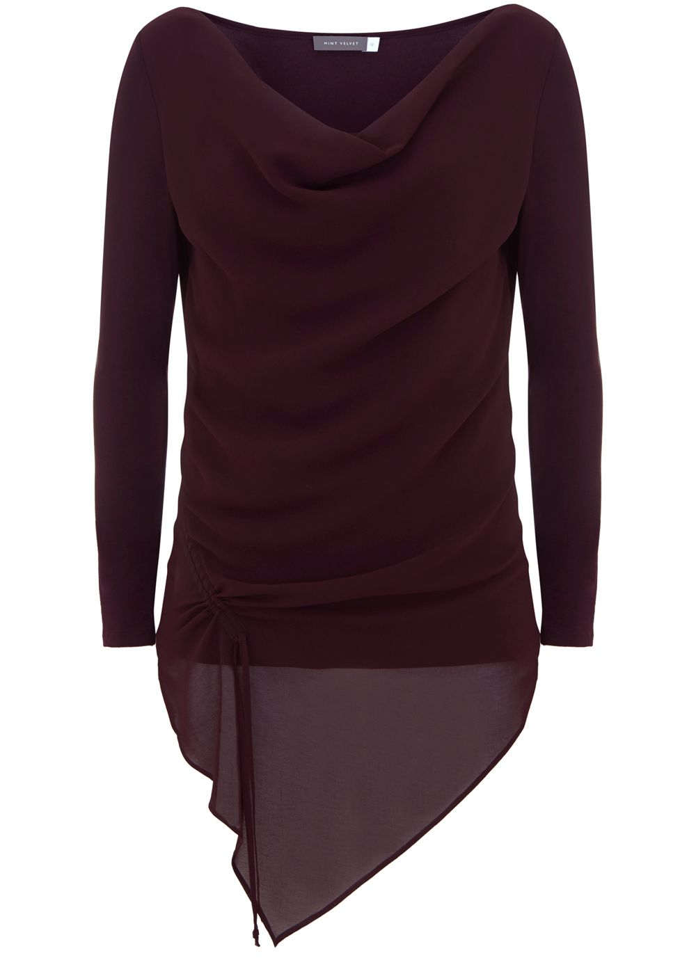 Mint Velvet Bordeaux Ruched Front Layer Top, Dark Red