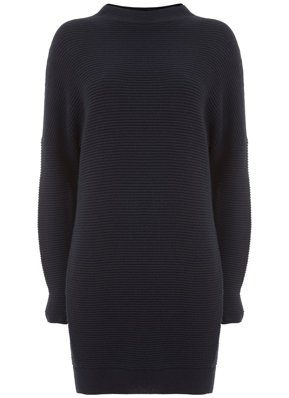 Mint Velvet Navy Ottoman Stitch Tunic, Dark Blue