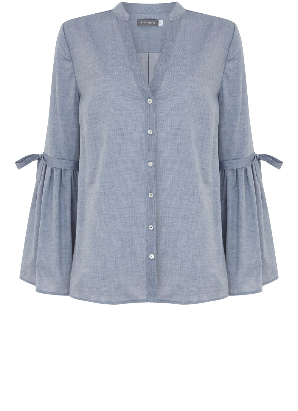 Mint Velvet Chambray Fluted Sleeve Shirt, Light Blue