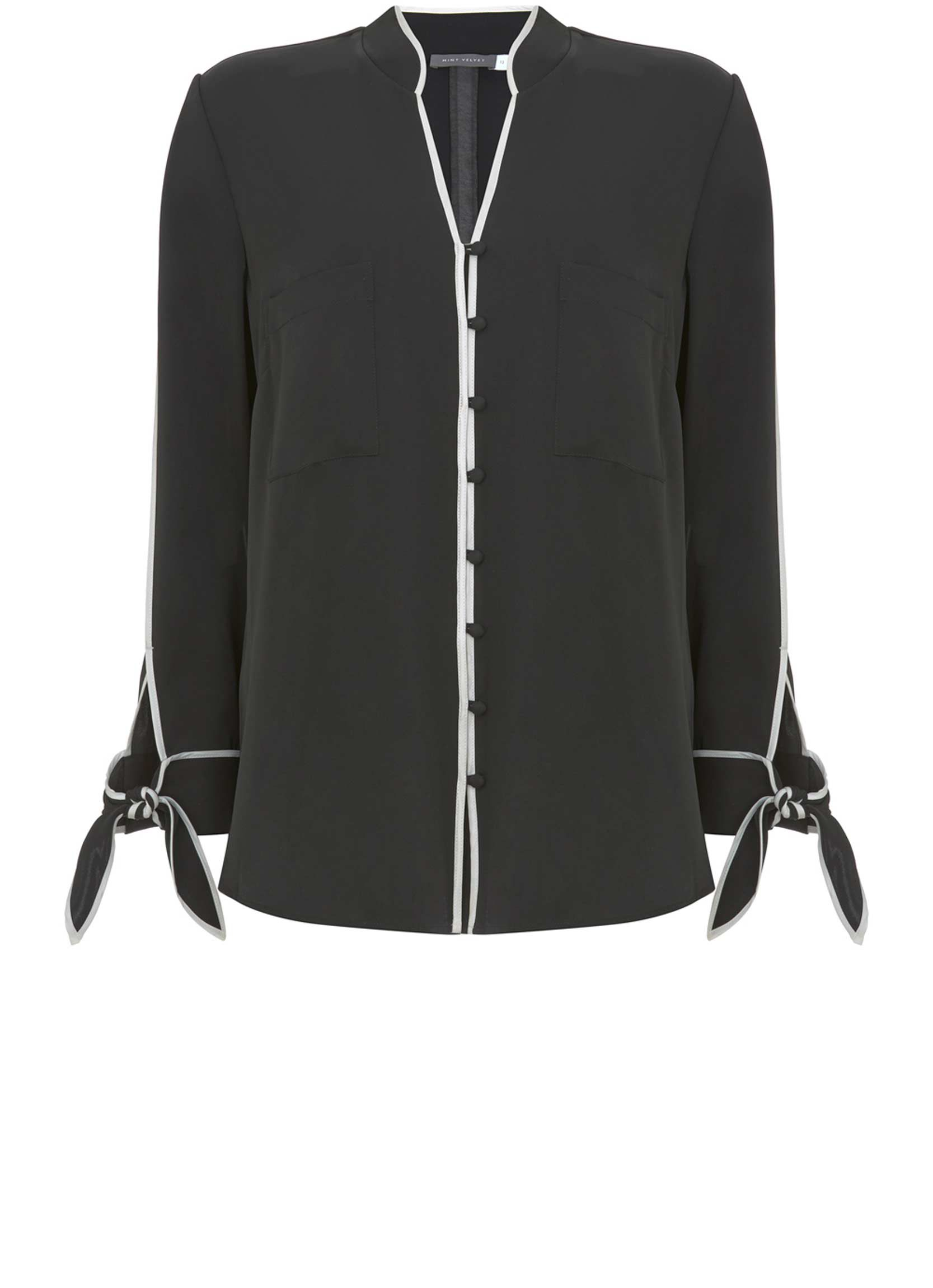 Mint Velvet Black Tipped Contrast Shirt, Black