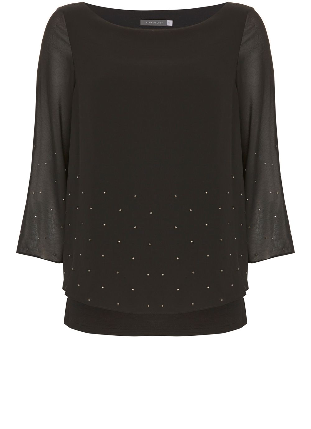 Mint Velvet Studded Cape Top, Black