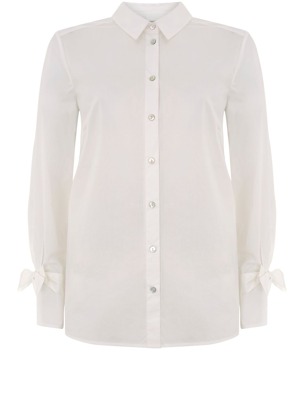 Mint Velvet Ivory Bow Cuff Shirt, White