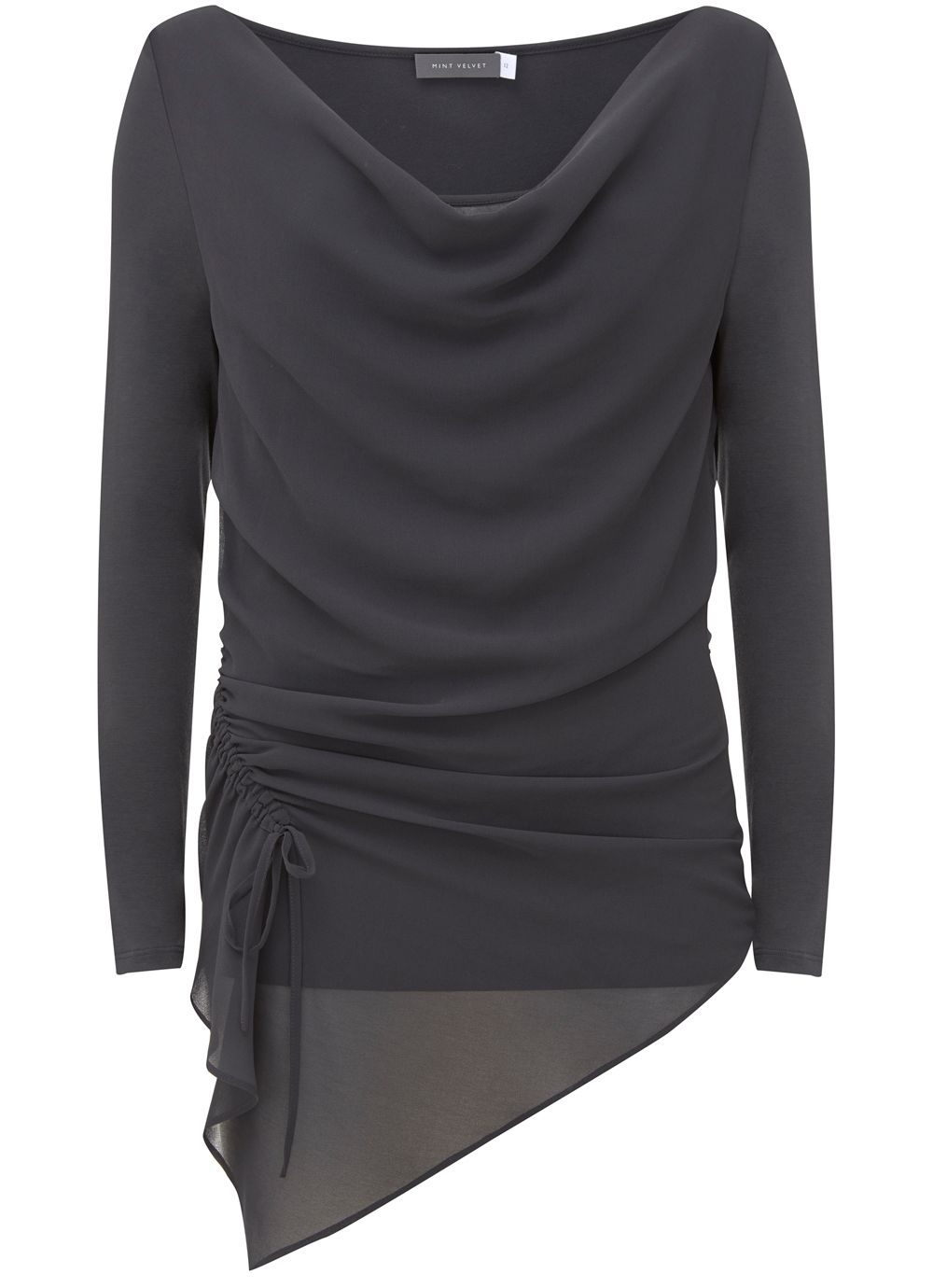 Mint Velvet Granite Ruched Front Layered Top, Dark Grey