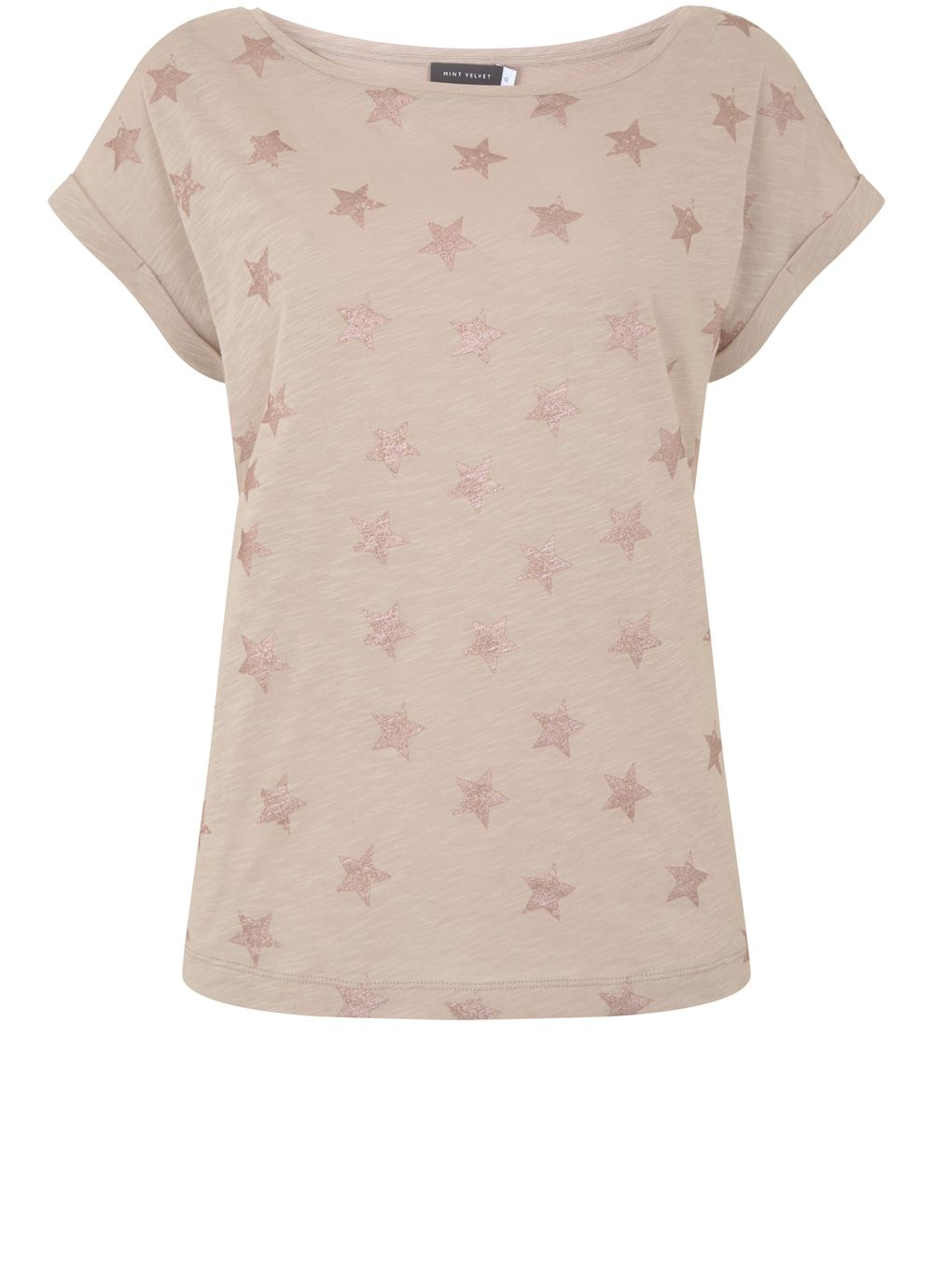 Mint Velvet Oyster Metallic Star Tee, Neutral