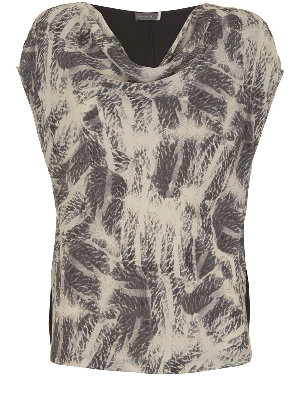 Mint Velvet Indra Print Cowl Neck Tee, Multi-Coloured