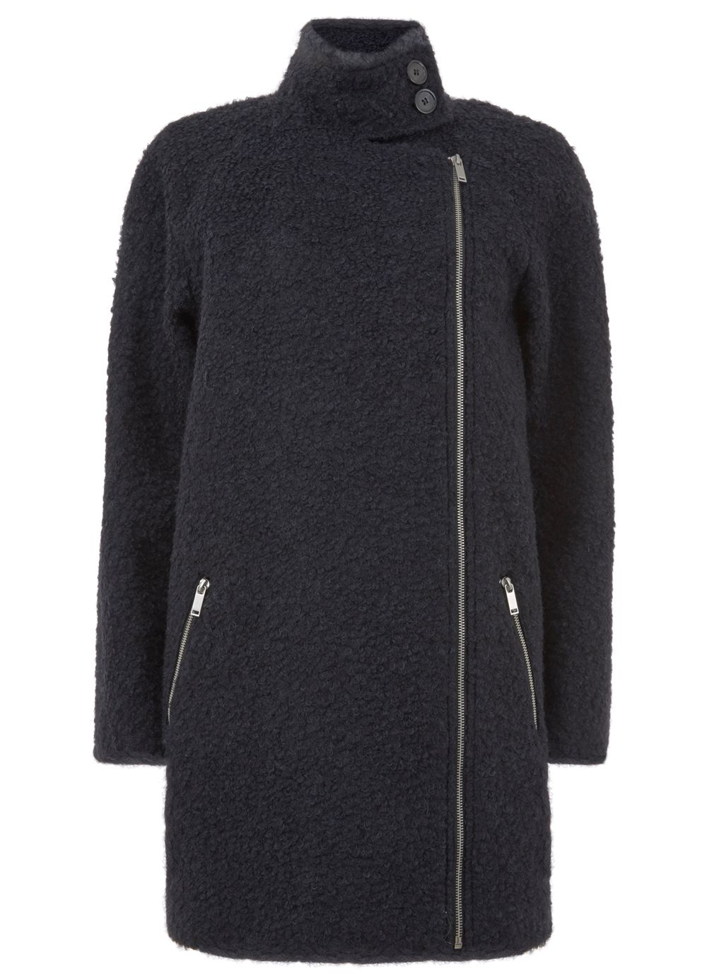 Mint Velvet Ink Boucle Coat, Dark Blue