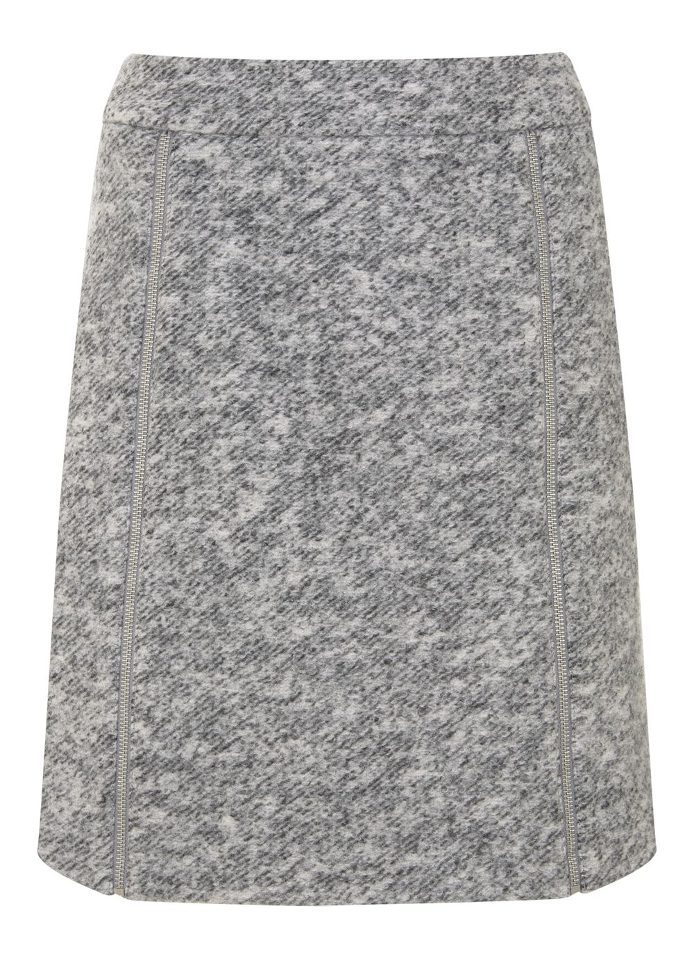 Mint Velvet Grey Textured Zip Detail Skirt, Light Grey