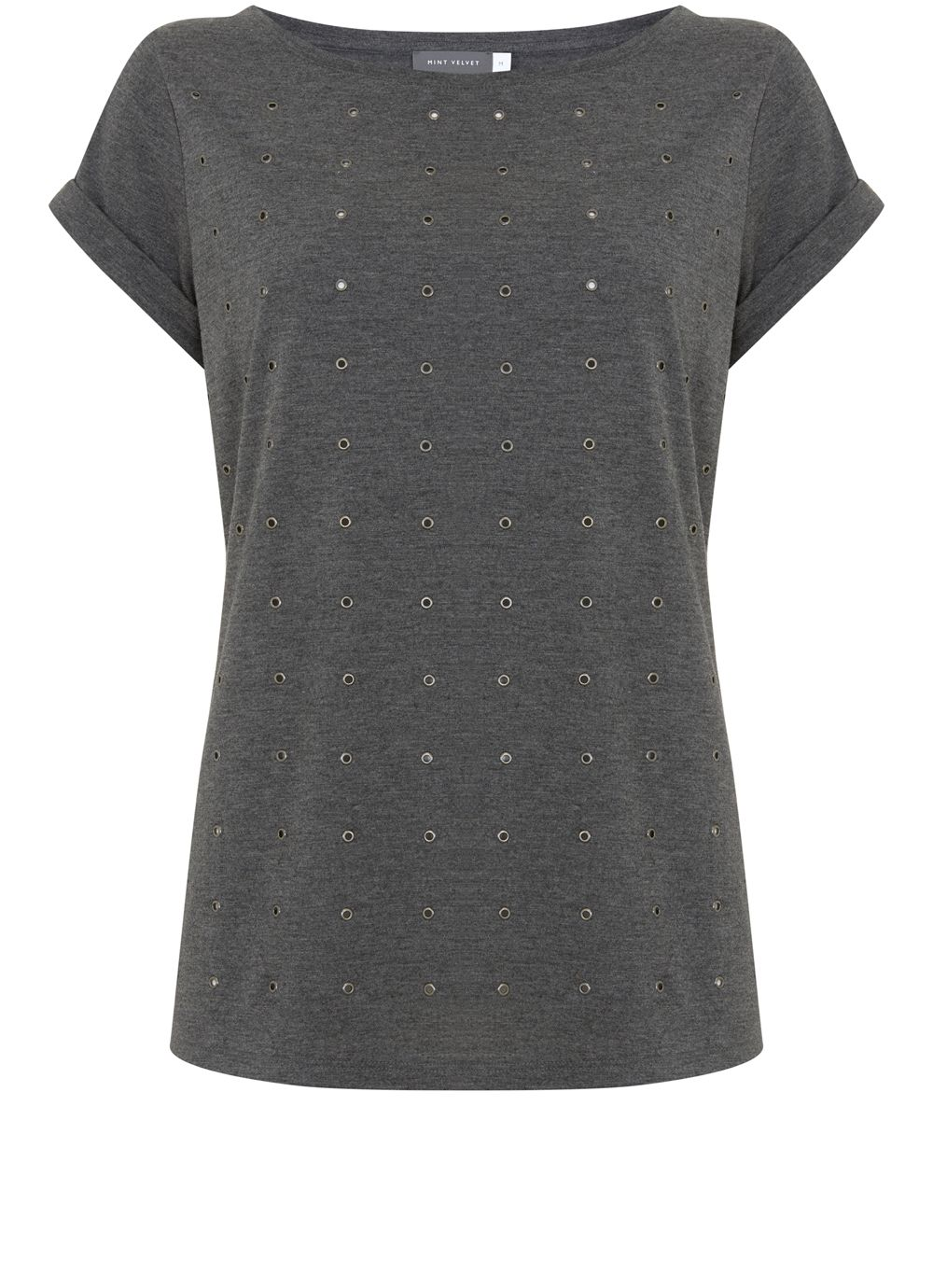 Mint Velvet Charcoal Marl Eyelet Tee, Light Grey