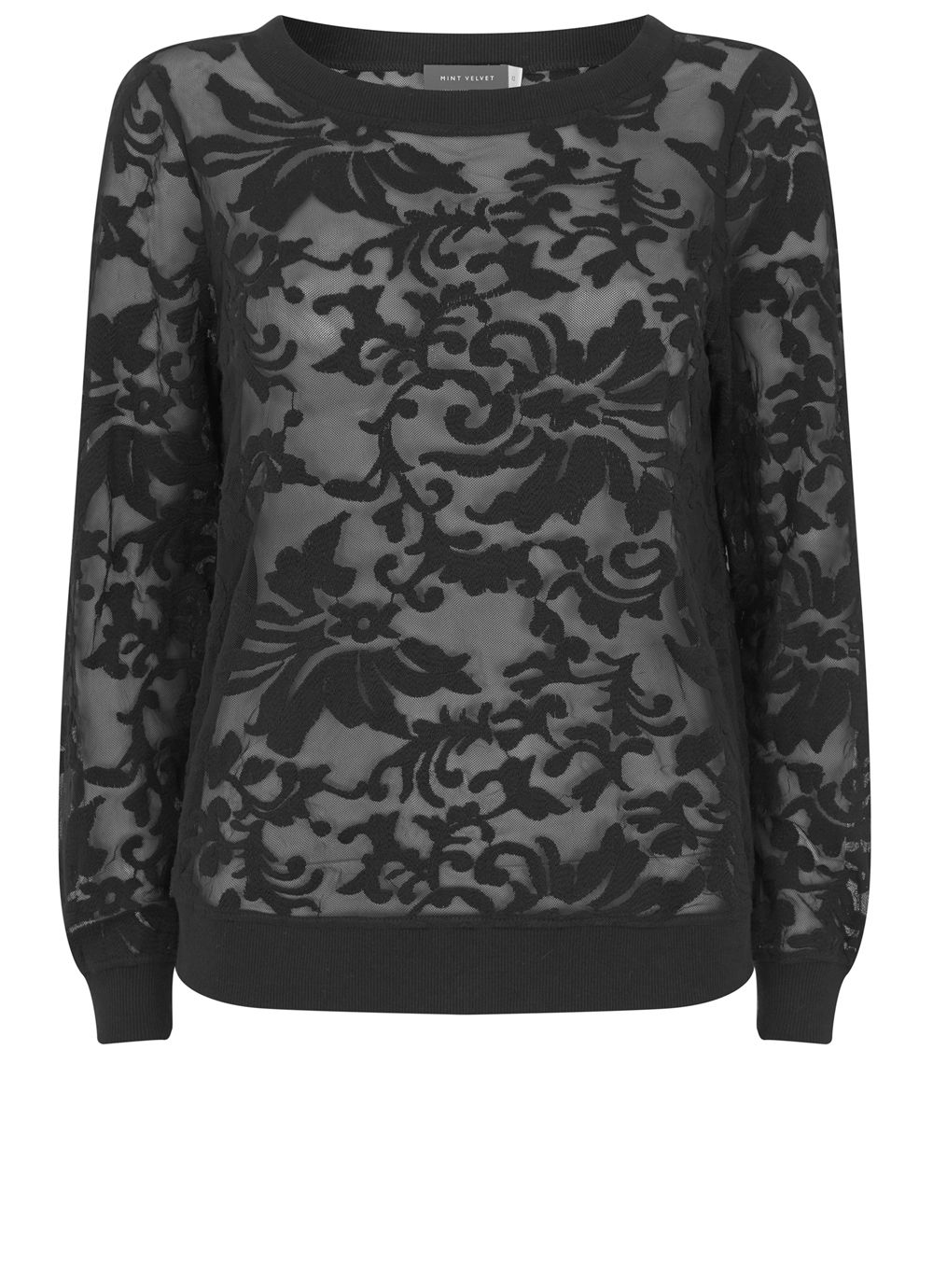 Mint Velvet Black Embroidered Sweat, Black