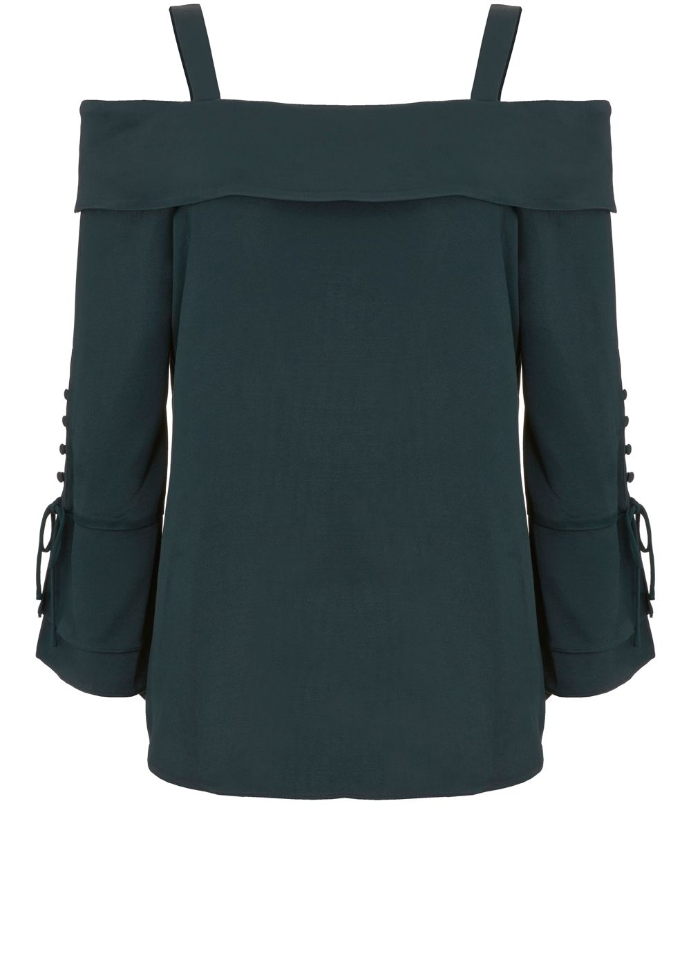 Mint Velvet Jade Cold Shoulder Blouse, Green