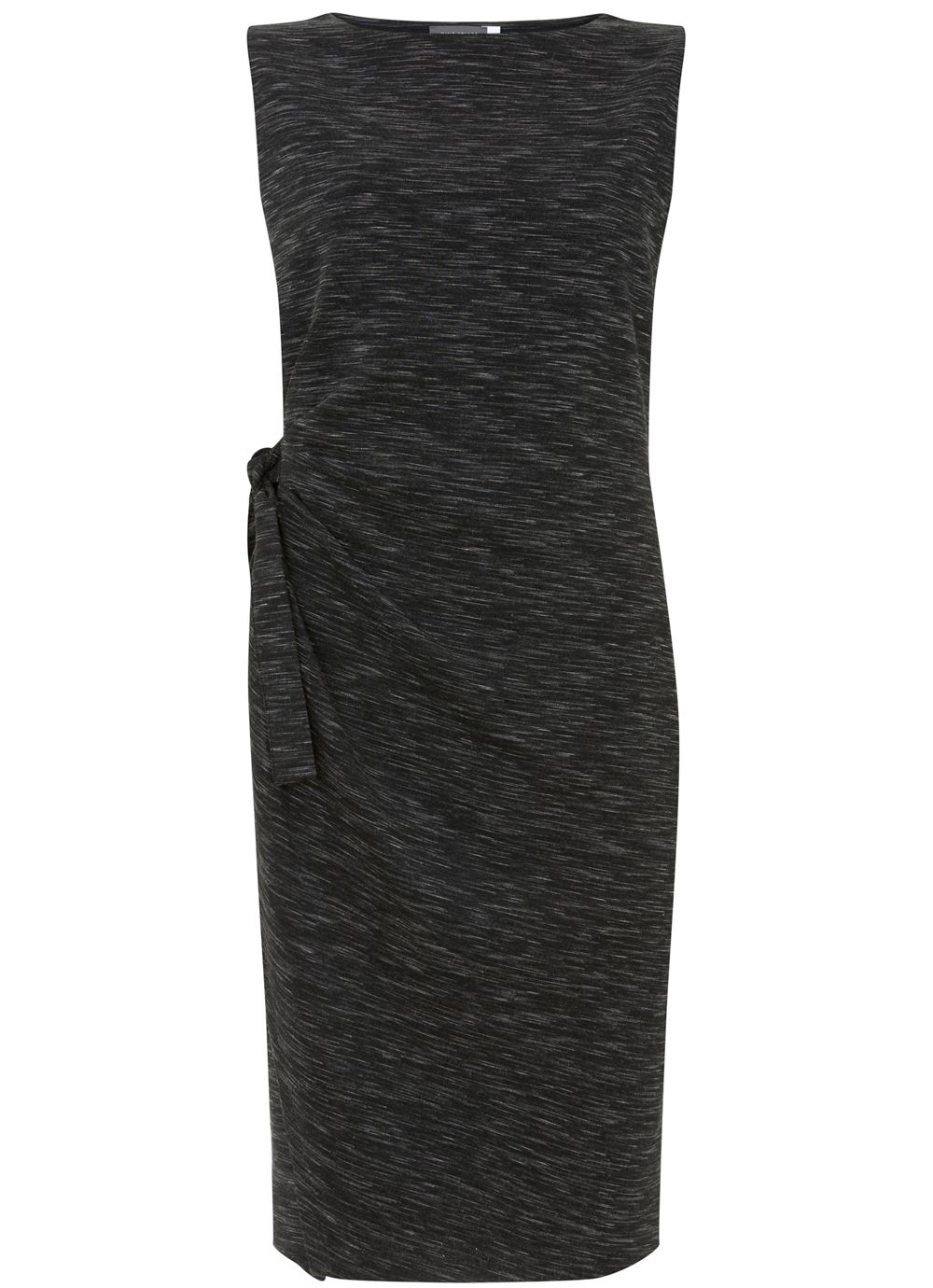 Mint Velvet Tie Front Midi Dress, Dark Grey