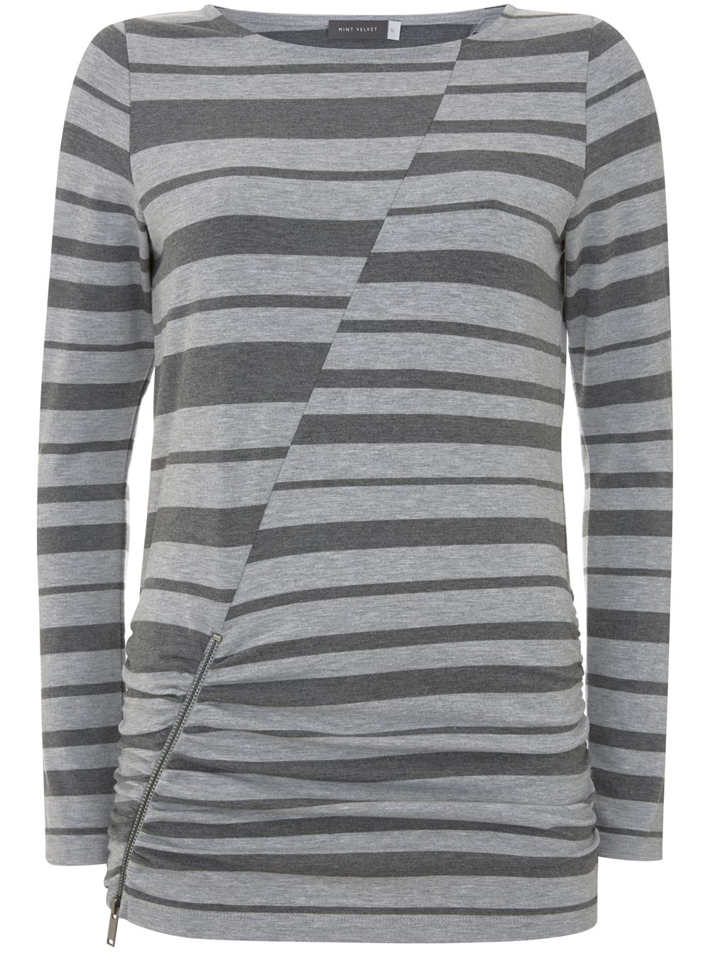 Mint Velvet Blocked Stripe Jersey Tee, Multi-Coloured