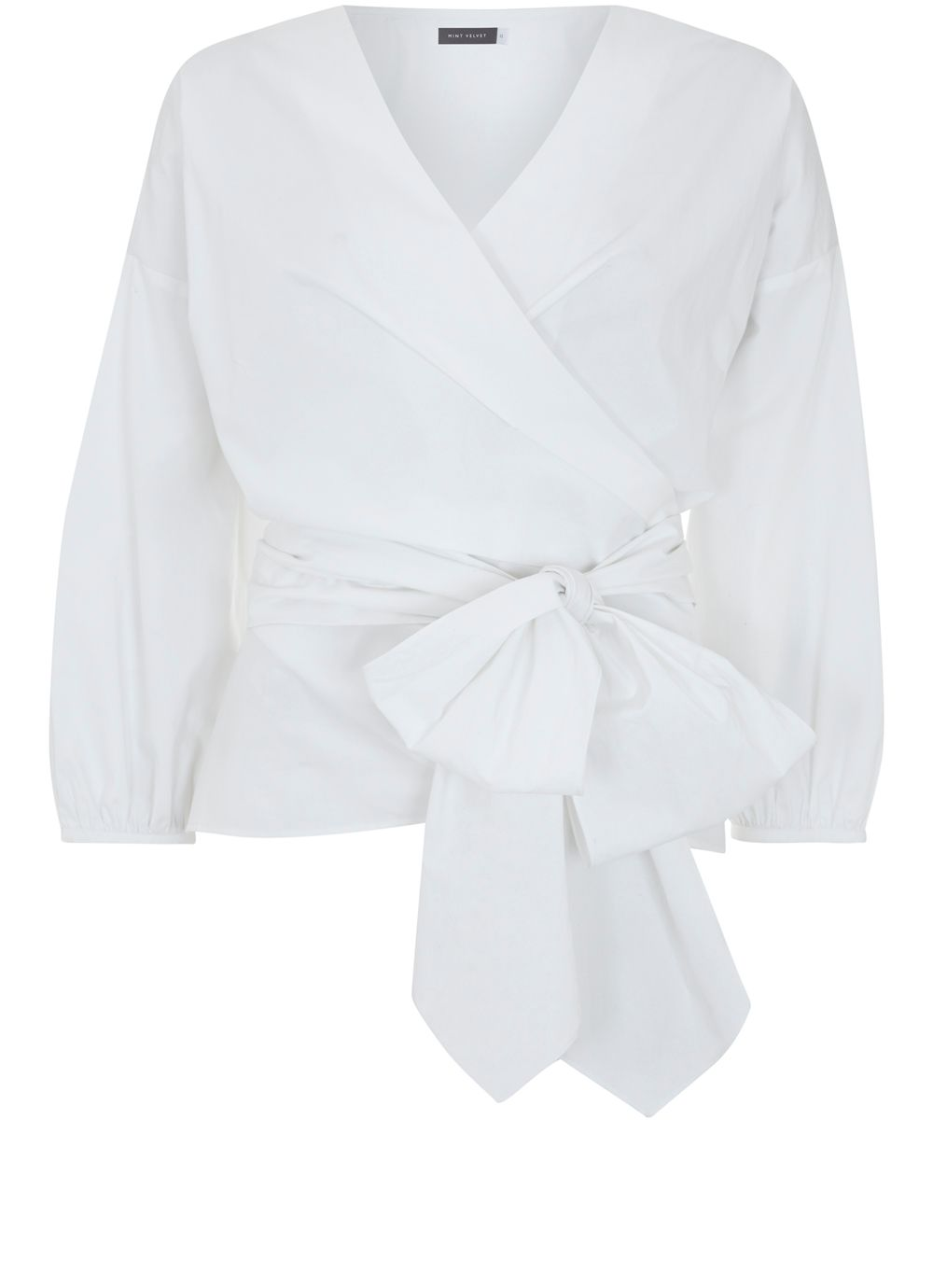 Mint Velvet Ivory Cotton Wrap Shirt, White