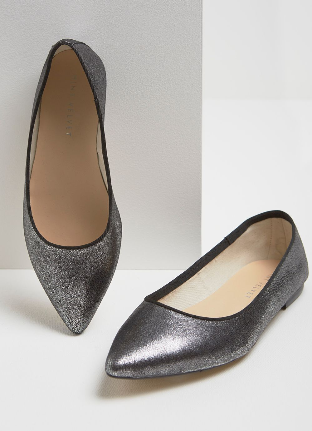 Mint Velvet Pixie Gunmetal Pointed Pump, Grey