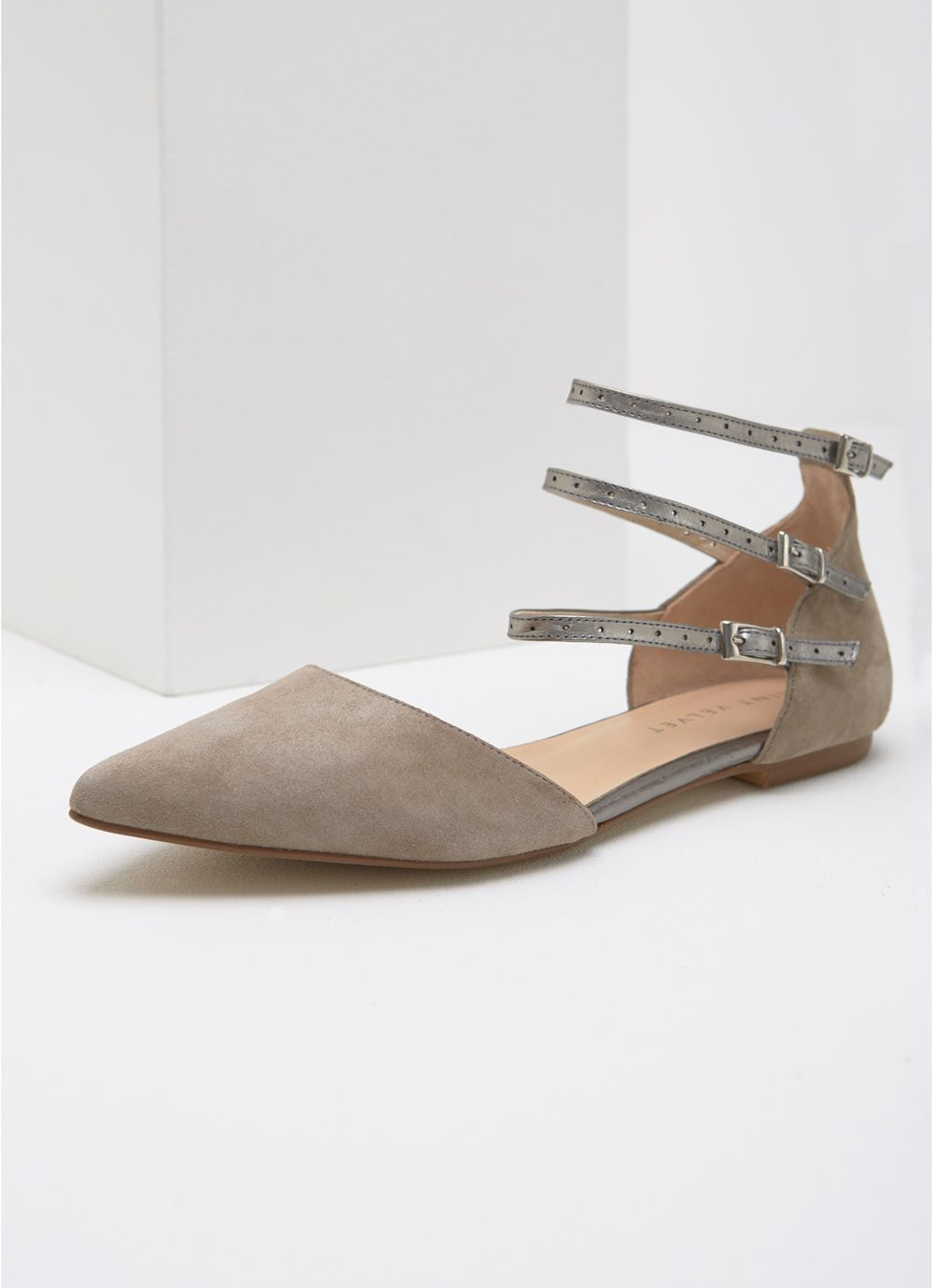 Mint Velvet Avery Ankle Strap Pointed Pump, Neutral