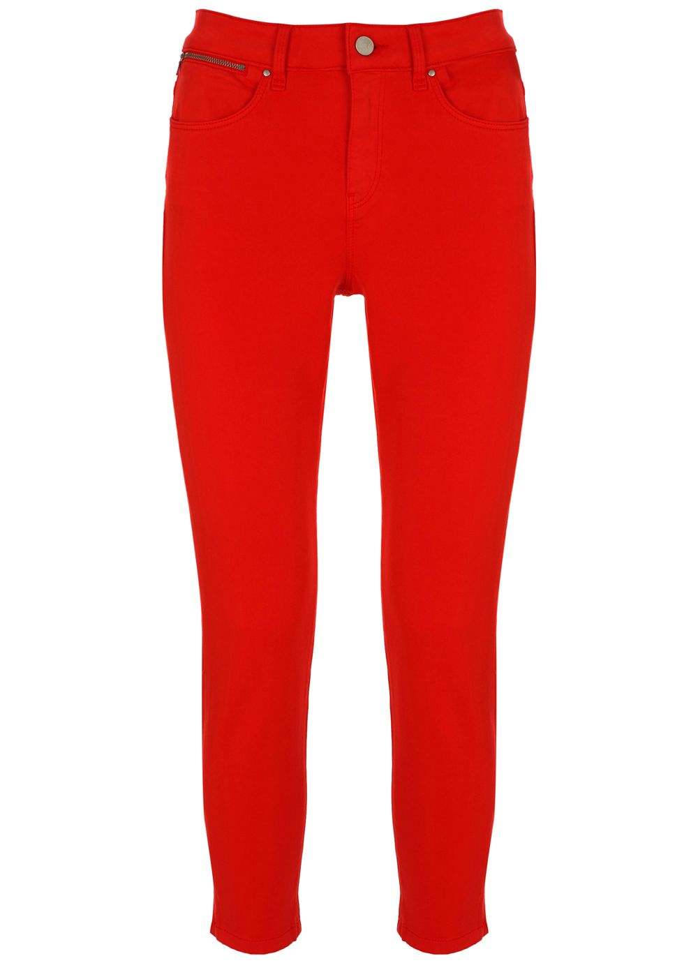 Mint Velvet Seattle Red Crop Split Hem Jean, Red