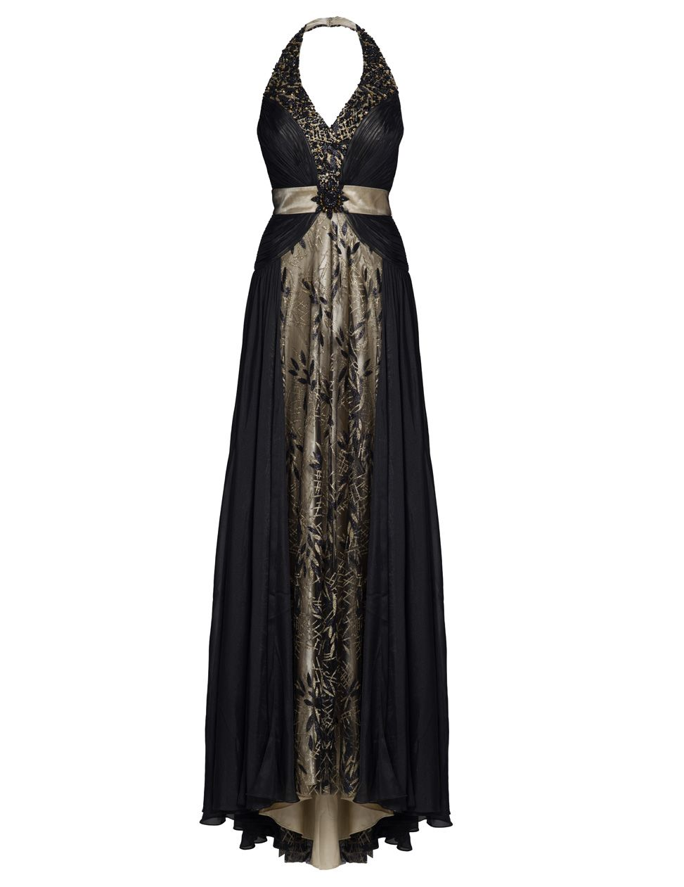 Tela halter neck embellished maxi dress