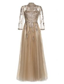 Aftershock Armina beige embroidered maxi dress