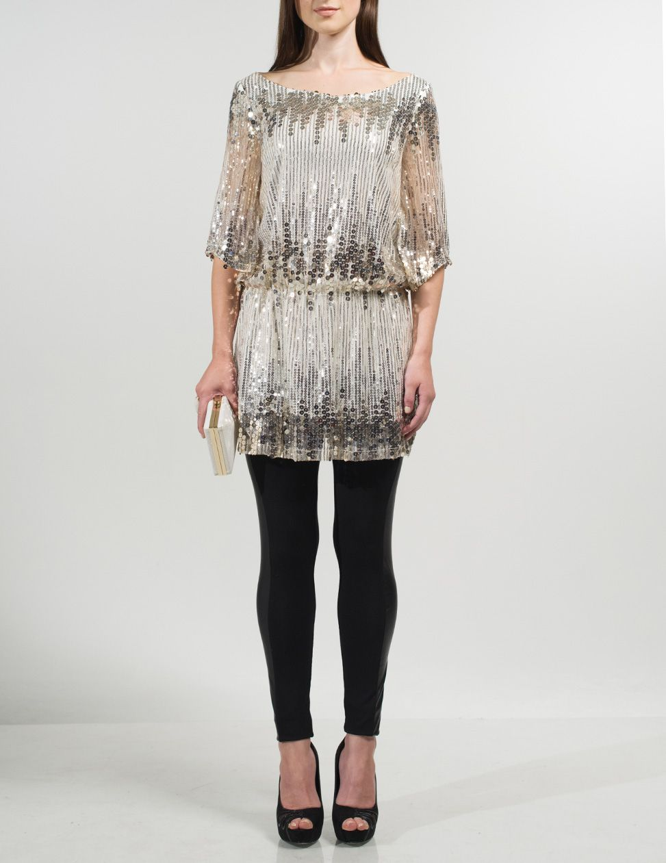 Dini silver embellished top
