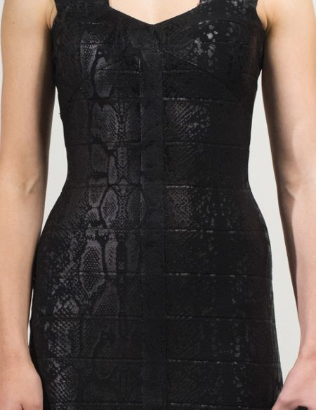 Aftershock Dumati black snake print bodycon dress