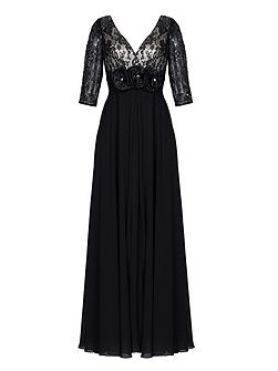 Dunston black lace maxi dress