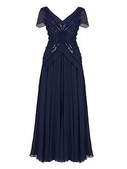 Aftershock Diwara navy sequin embroidered maxi dress