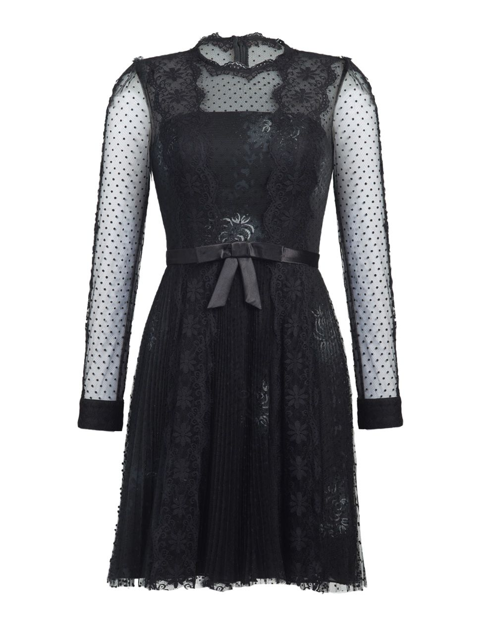 Deasun black short lace dress