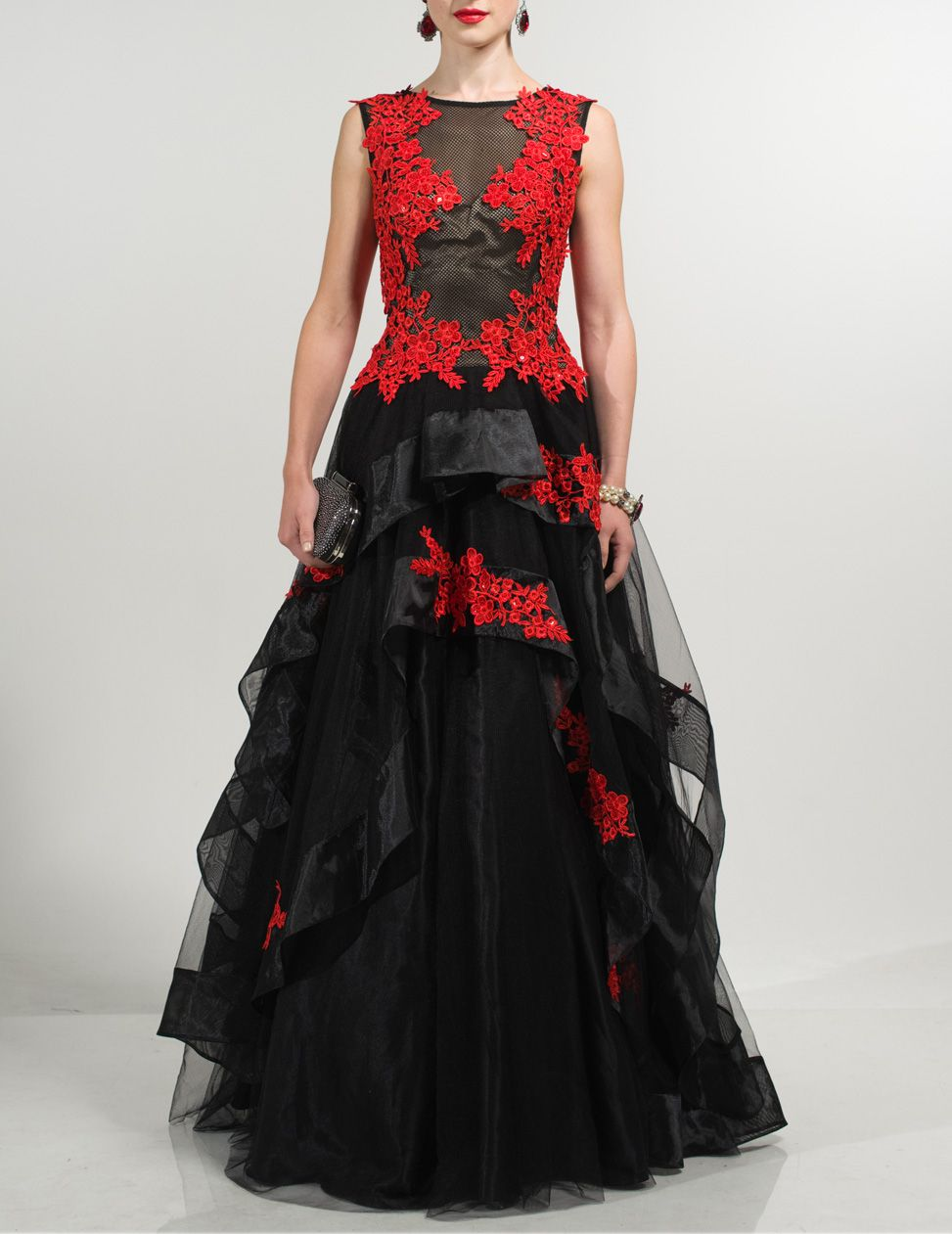 Tarub black and red embroidered maxi dress